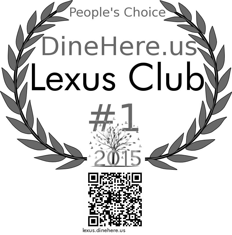 Lexus Club DineHere.us 2015 Award Winner