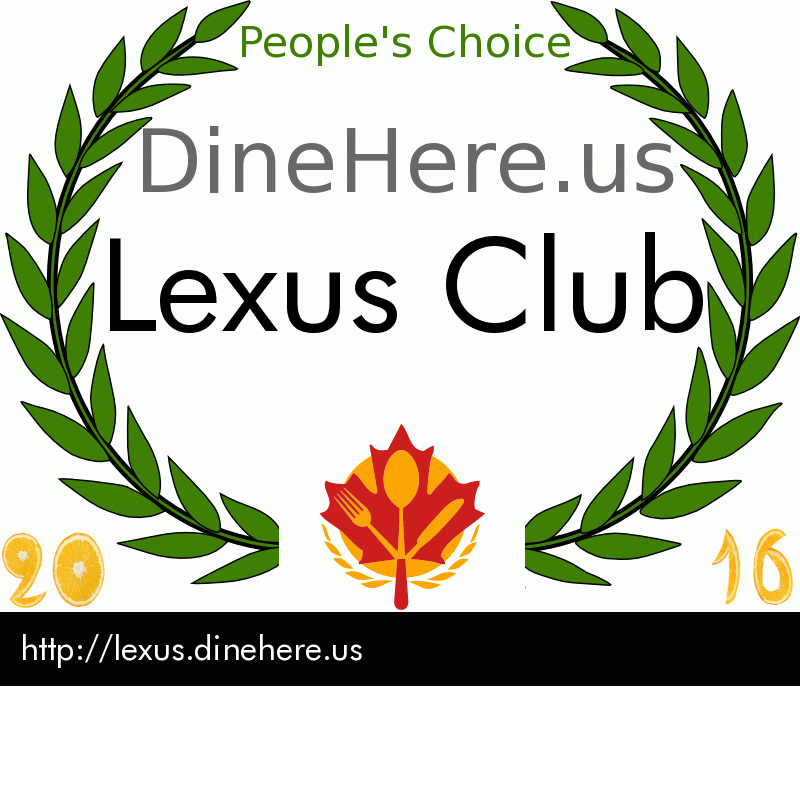 Lexus Club DineHere.us 2016 Award Winner